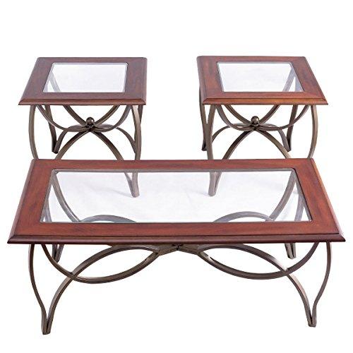 Tangkula Glass Coffee Table Set Occasional Cocktail Table Set Glass Top Coffee Table & 2 End Tables Set of 3 by Tangkula (Image #3)