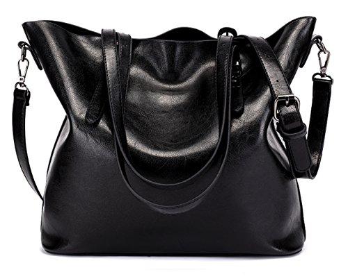Dreubea Women's Soft Leather Handbag Hobo Crossbody Purse Tote Shoulder Bag Black Zippered Faux Leather Purse