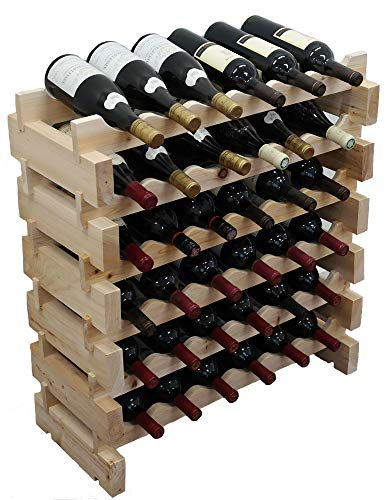 DisplayGifts 36 Bottle Capacity Stackable Storage Wine Rack, Wobble-Free, Thicker Wood, - Storage Modular Wine