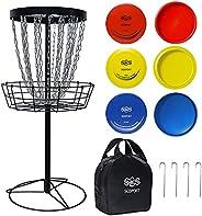 Pro 24-Chain Disc Golf Basket Target for Practice, Come with 2PCS Driver Disc, 2PCS Mid Range Discs, 2PCS Putt