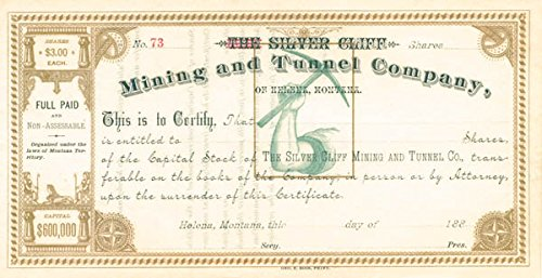 - Silver Cliff Mining and Tunnel Company, of Helena, Montana