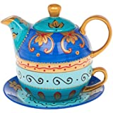 Arty Hand Painted Tea Pot in blue with Cup and Saucer Set - Tea for 1