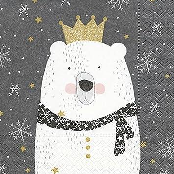 20 Servietten 33 X 33 Cm Weihnachten Polarbar Eisbar Kinder