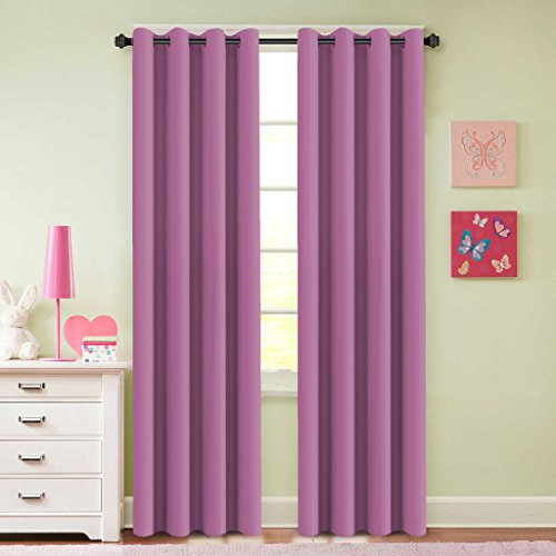 H.Versailtex Blackout Room Darkening Curtains For Girls Room,Grommet Window  Drapes   2 Panels   52 X 84 Inches Long, Fuchsia Pink