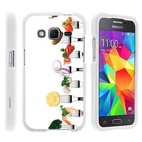 - TurtleArmor | Compatible for Samsung Galaxy Core Prime Case | Prevail | Win 2 [Slim Duo] Hard Compact Lightweighting 2 Piece Cover Shell on White Food Image - Food Appetizers