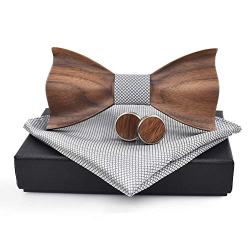 (Novelty Wood Bow Tie Handmade Groom Groomsman Pre-tie Bowtie Pocket Square and Men's Cufflinks Set with Gift Box (One Size, Chic Wood+SIlver Grey Pocket Square))