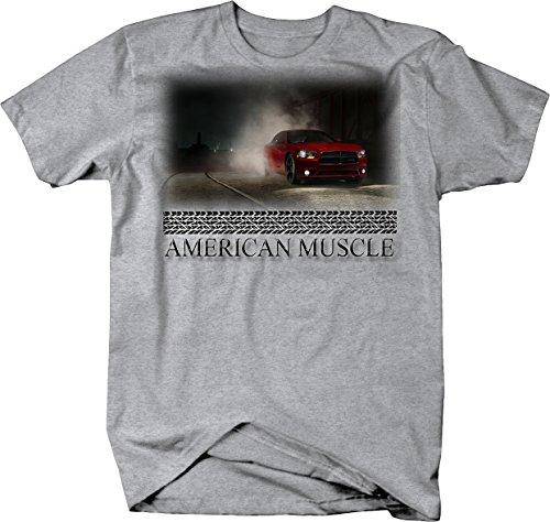 American Muscle Dodge Challenger Burnout at Night City Tshirt - Medium
