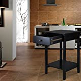 ELEGAN Wood Square Nightstand Side End Night Table With Single Drawer and Shelf Black Finish