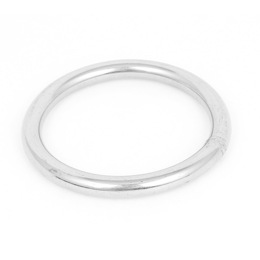 Uxcell a15060500ux0115 Silver Tone 100mmx8mm Stainless Steel Webbing Strapping Welded O Rings