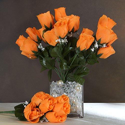 Efavormart 84 Artificial Buds Roses Wedding Flowers Bouquets SALE - Orange