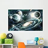 Wallmonkeys Solar System and Spiral Wall Mural Peel and Stick Graphic (60 in W x 37 in H) WM368814