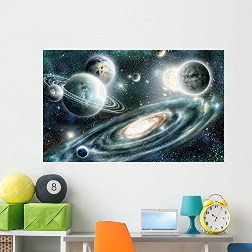 Wallmonkeys Solar System and Spiral Wall Mural Peel and Stick Graphic (60 in W x 37 in H) WM368814 by Wallmonkeys