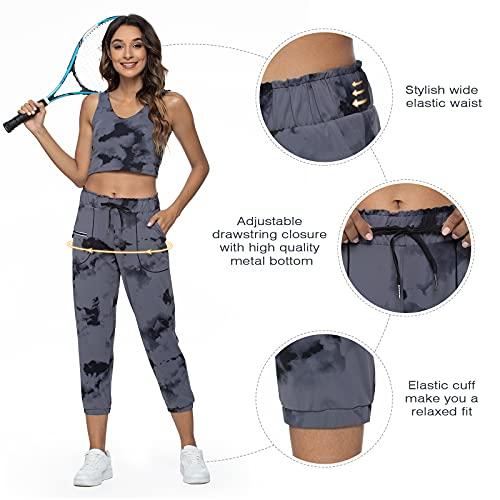 Joggers for Women Sweatpants-Elastic Waist Comfy Lounge Workout Sport Yoga Pants with Pockets(Splash-Ink Grey S)