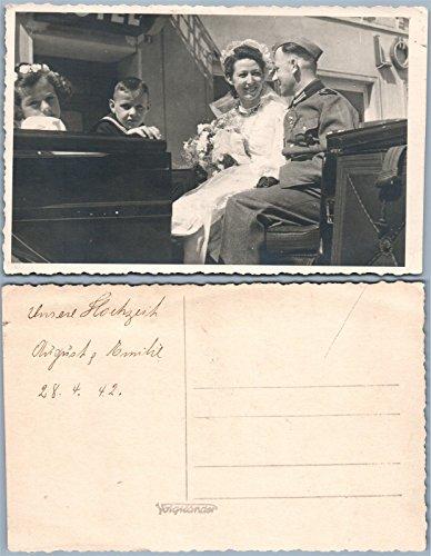 GERMAN WWII SOLDIER'S WEDDING 1942 MILITARY UNIFORM REAL PHOTO POSTCARD ()