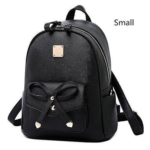 WINK KANGAROO Fashion Shoulder Bag Rucksack PU Leather Women Girls Ladies Backpack Travel bag (Black Small Size) by WINK KANGAROO