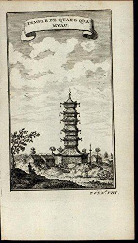 Quano Qua Myau Temple Pagoda Architecture scarce old 1749 antique engraved print ()