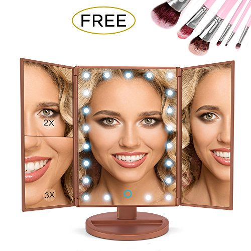 Makeup Mirror Led Lights Bundle 7 Piece Bonus Brush Set Magnification 1x2x3 For your Clearest Reflection With 180 Degrees Rotation Dual Power Extra Long USB Cable Rose Gold - Reflections Bedroom
