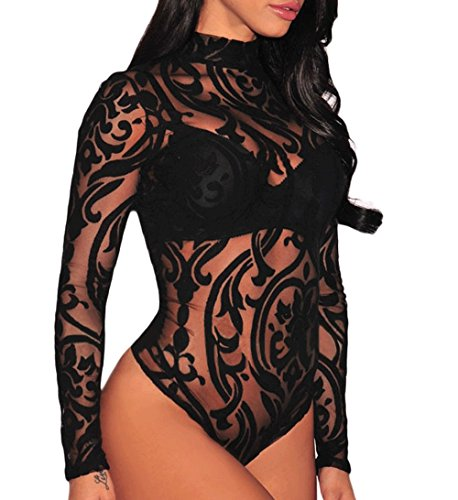 Mesh Plus Size Bra (8039 - Plus Size Sheer Mesh Print Long Sleeves Bodysuit (3X, Black With Print))