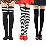 BQUBO Stripe Knee High Tube Socks Over the Knee Socks Thigh High Stockings Socks 10-21 Year