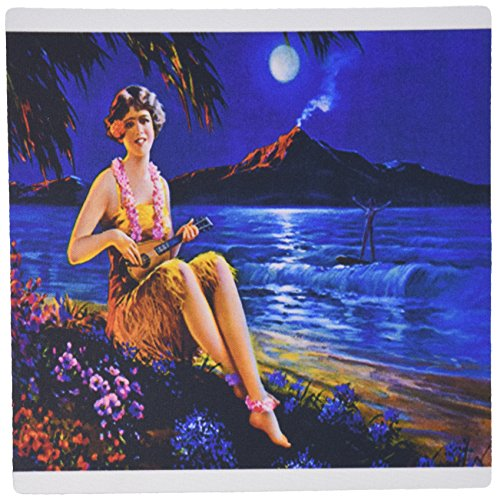 Price comparison product image 3dRose LLC 8 x 8 x 0.25 Inches Mouse Pad, Print of Lady Strums Ukulele Seaside Under Full Moon (mp_184264_1)