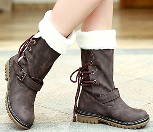 IDIFU Womens Warm Buckled Lace Up Faux Fur Lined Chunky Heels Mid Calf Snow Boots Dark Brown sZtWi58u