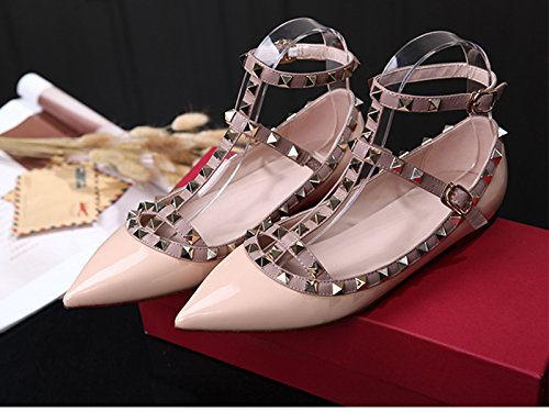 official photos 245a2 477a3 Chris-t Womens Flats Nagler Perle Studded T-stropp Ankel Spenne Sko Naken  Patent ...