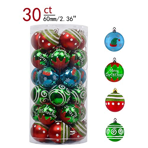 Teresa's Collections 30ct 60mm Joyful Elf Shatterproof Christmas Ball Ornaments Decoration,Themed with Tree Skirt(Not Included)