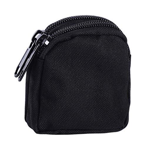 Mini Nylon Belt - Iumer Coin Purse Nylon Double Layer Zipper Waterproof Multifunctional Military Key Mini Organizer Camping Belt Pouch,Black