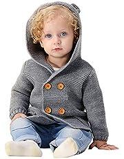 Abrigos bebé, pequeño Recién Nacido Bebé Niñas Niños Color sólido Orejas Tops de Punto con Capucha Ropa de Abrigo cálido Suéter Chaquetas