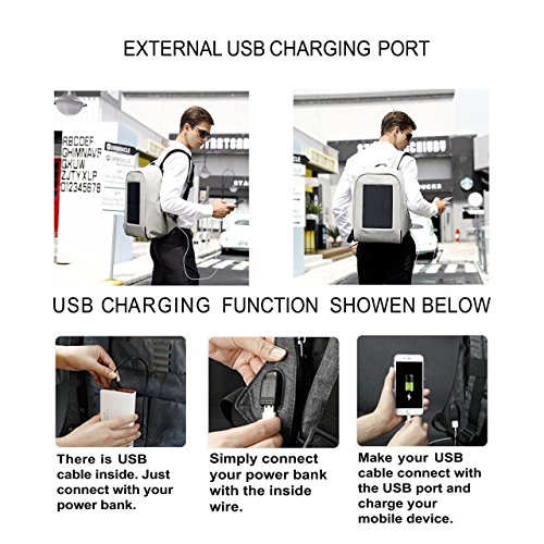 Tigernu 10W Solar Backpack Anti Theft 15.6 Laptop Backpack with USB Charging Port (Light Gray) by TIGERNU (Image #1)