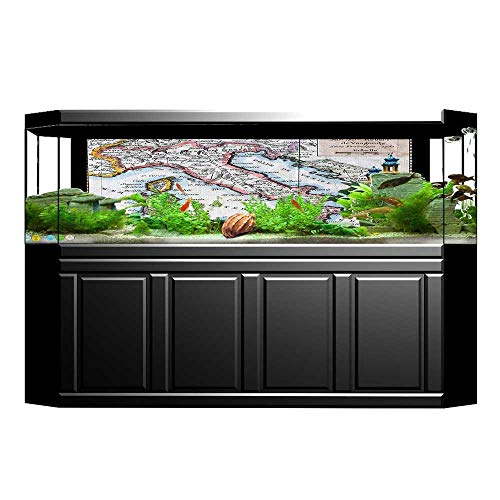 also easy Fish Tank Poster Aquarium Background Backdrop PVC Adhesive Colored Xvth Century Italy Map by Royal French Geographer Vaugondy Sticker Wallpaper Fish Tank 23.6