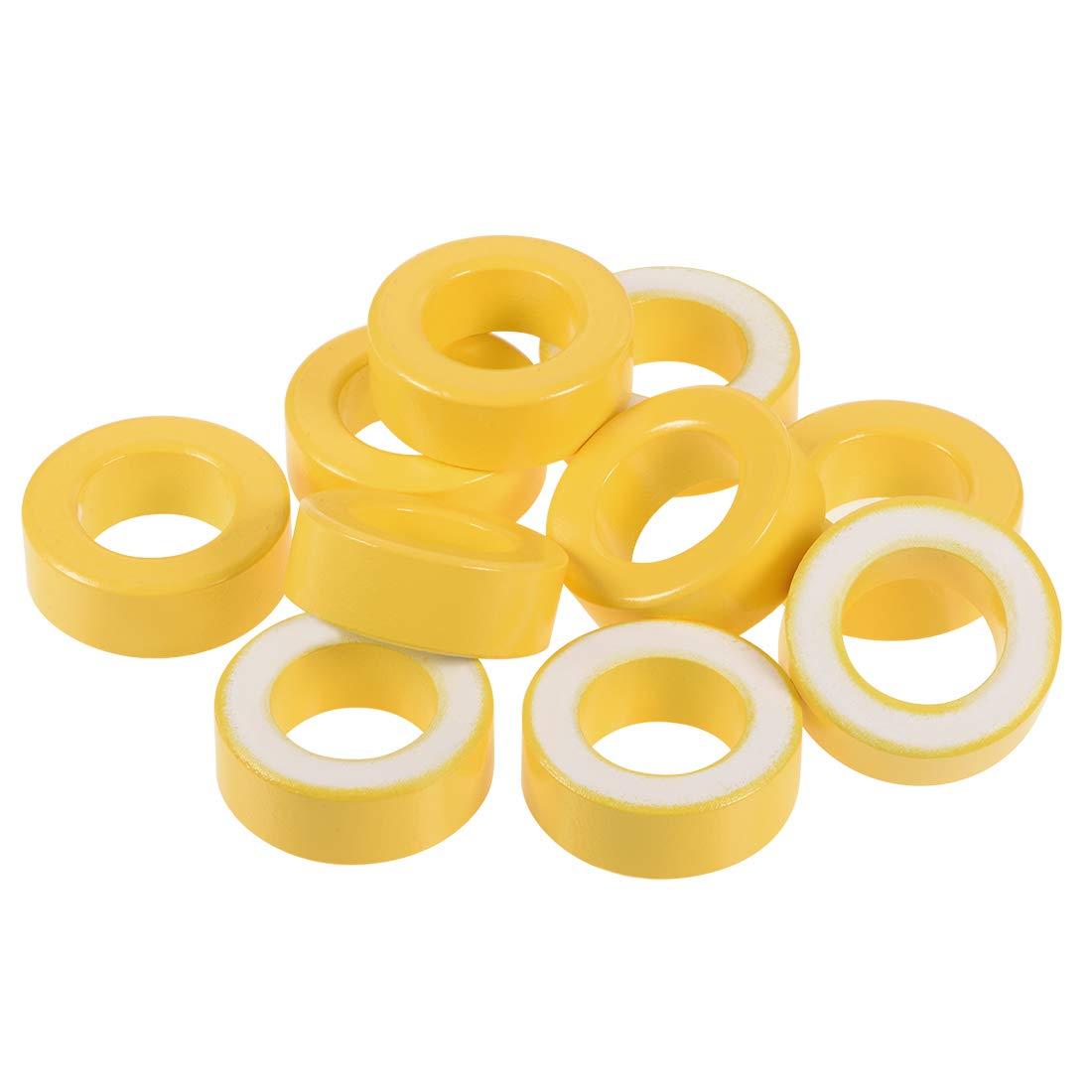 uxcell 10pcs 24 x 40.3 x 15mm Ferrite Ring Iron Powder Toroid Cores Yellow White