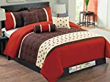 7-Pc Quilted Floral Trellis Quatrefoil Comforter Set Red-Orange Brown Ivory King