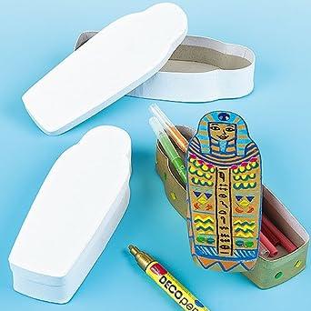 Baker Ross Diseña Tu Propio Estuche de Lápices Sarcófago Egipcio (paquete de 3) para que los niños pinten, decoren y personalicen para actividades de manualidades: Amazon.es: Industria, empresas y ciencia