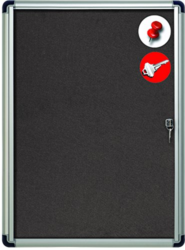 MasterVision Enclosed Grey Fabric Bulletin Board with Lock, Indoor Use, 28'' x 38.25'', Aluminum Frame (VT630103690) by MasterVision