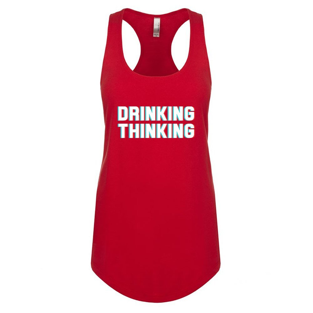 Mad Over Shirts Drinking Thinking Unisex Premium Racerback Tank top