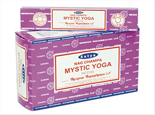 Satya Nagchampa Mystic Yoga Fragrance Incense Sticks Agarbatti Gift - Pack of 12 Boxes (15 gm each)-180 gm (Mystic Temple Incense)