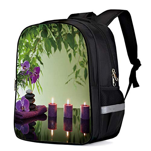 Water Resistant School Backpack, Purple Candle Orchid Green Leaves Oxford 3D Print College Student Rucksack Daypack for School Camping Travel 33x28x16cm ()