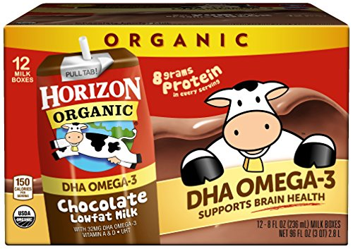 Horizon Organic, Low Fat Milk with DHA Omega-3, Chocolate, 8-Oz Aseptic Cartons (Pack of 12), Juice Box Alternative, Supports Brain Health Contains Dha