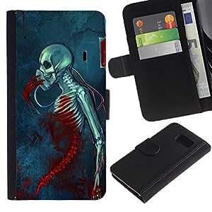 KLONGSHOP / Tirón de la caja Cartera de cuero con ranuras para tarjetas - Blood Death Grim Blue Skull Skeleton - Samsung Galaxy S6 SM-G920
