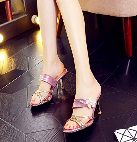 43 Shoes T strap Fashion Flowers Slippers Women Summer 40 Pink Large Size Heel Women's High POwnBY