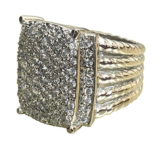 Ring Yurman David Diamond - Gempara Designer Inspired Wheaton Ring Measurements: 20mm x 16mm with 2.06 Ctw VS1/G Simulated Pave Diamond Ring (7)