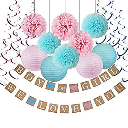 Amazon.com: Gender Reveal Party Decoration Boy or Girl Banner,Paper ...