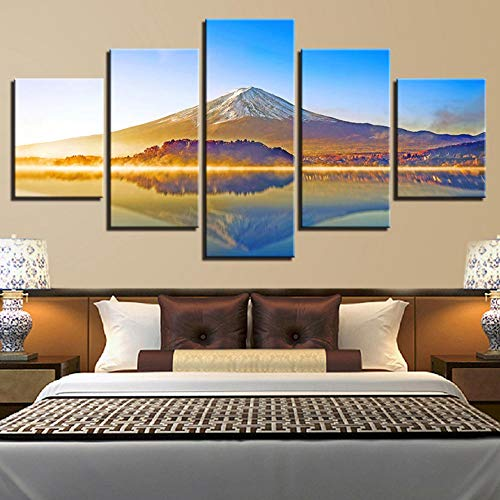 sasdasld Modular Poster Living Room Decor Framework 5 Pieces Mount Fuji Mountain Lake Scenery Canvas Pictures Wall Art Printed - Mountain Fuji Mount
