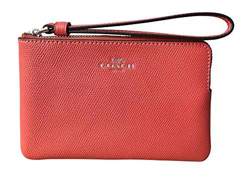 Coach Crossgrain Leather Corner Zip Wristlet (Coral), Medium