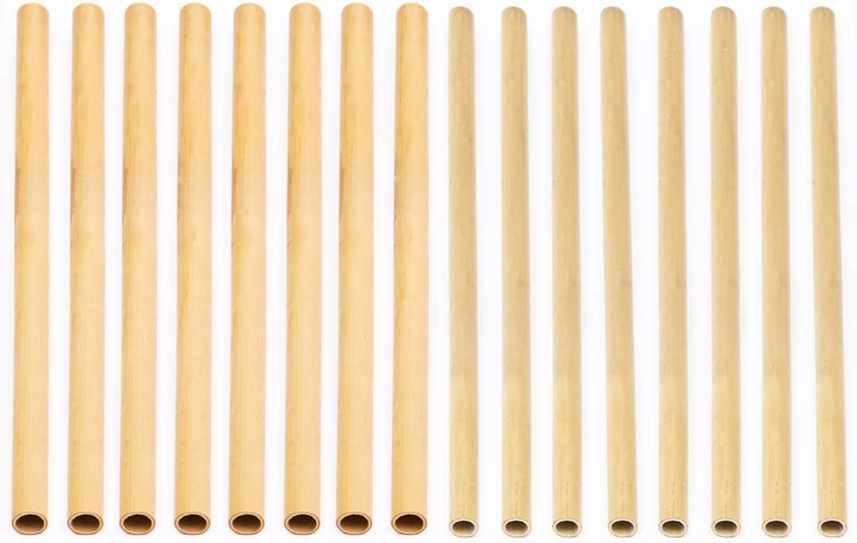 Rainforest Bowls 4 All-Natural Bamboo Straws (4-Pack) - Regular & Boba Straw Sizes - Zero Waste Gift Set - Reusable, Disposable, Compostable - Sip Drinks Sustainably