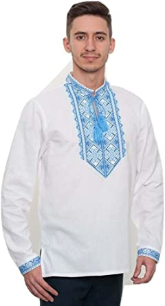 Ethnic cotton long sleeves blouse Ukrainian blouse Vyshyvanka Office look style Womans embroidered clothing Made in Ukraine