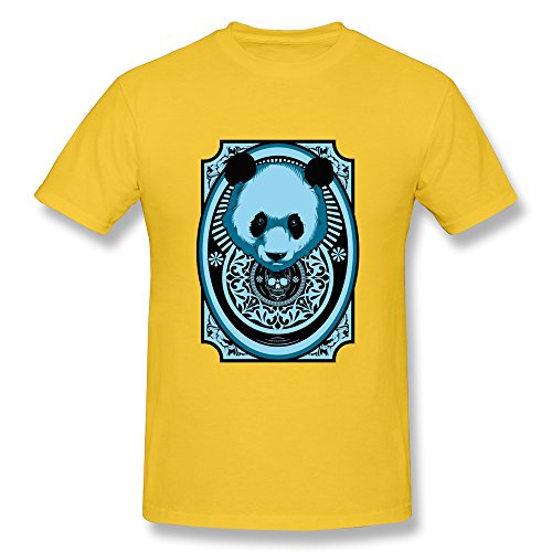 - Vansty Cute Panda Design 100% Cotton T-shirt For Male Yellow Size XL