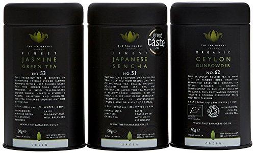 The Tea Makers of London Natural Chinese Jasmine Green Tea 50 g/ Ceylon Organic Gunpowder 50 g and Finest Japanese Sencha 50 g Loose Leaf Tea Gift Set by The Tea Makers of London