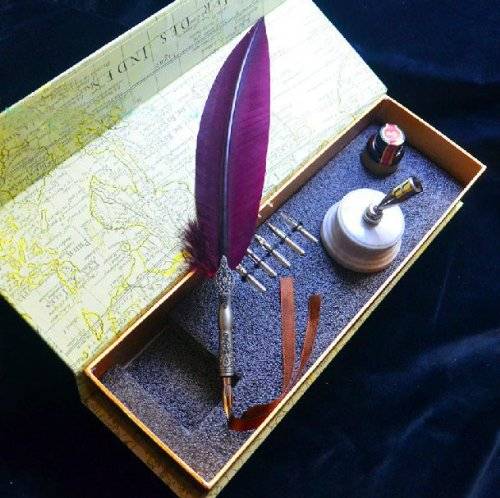 Magenta-Feather-Writing-Quill-Pen-With-Pen-Holder-and-Stainless-Steel-Nib-Set-LL-38